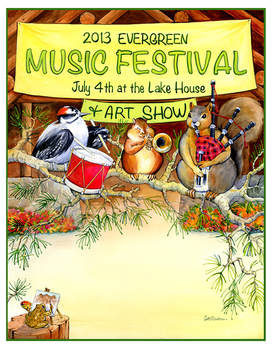 A different take on the Music Festival Scene. Look for the frog in every poster.