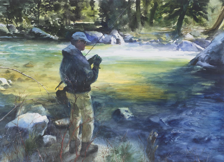 Mark Kahre is enjoying a secret fishing hole. Watercolor 18 x 26