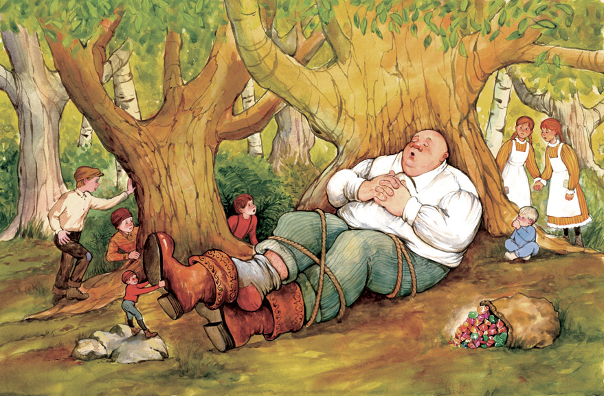 A scene from Tom Thumb. He is tying up the giant!