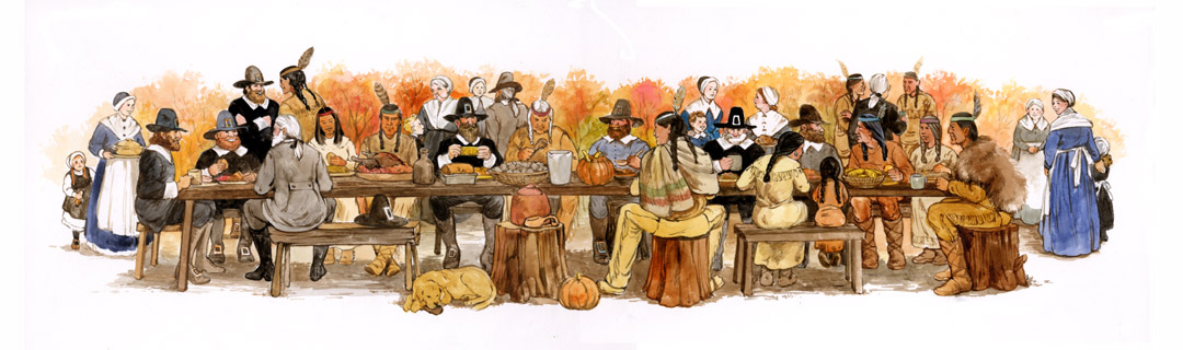 This is my version of the first Thanksgiving, done for an educational book.