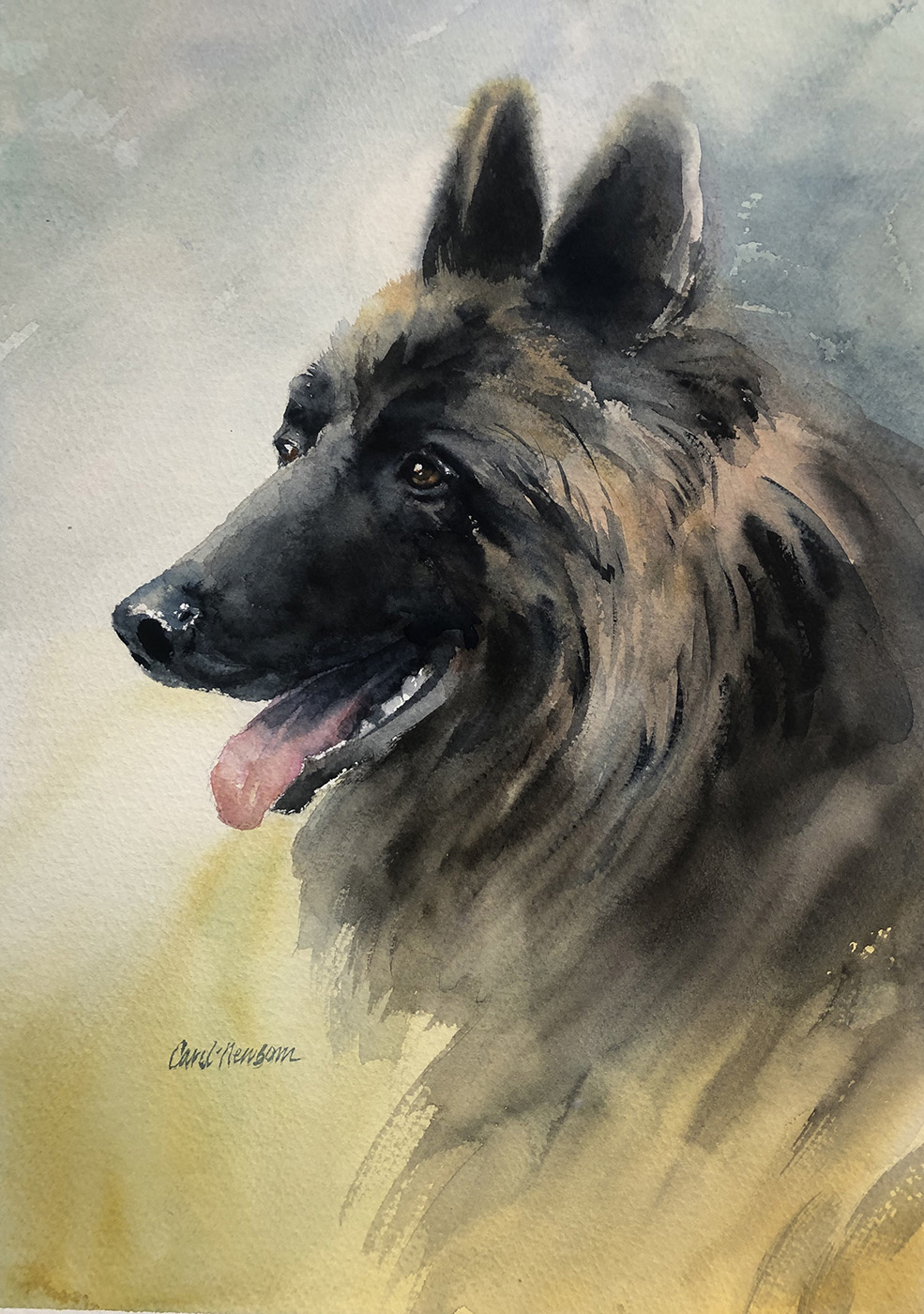 I loved painting this pretty dog, Remus, as a demo for one of my classes.  10 x 12