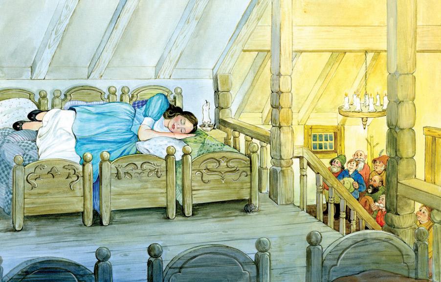 Snow white sleeps on the dwarves bed!