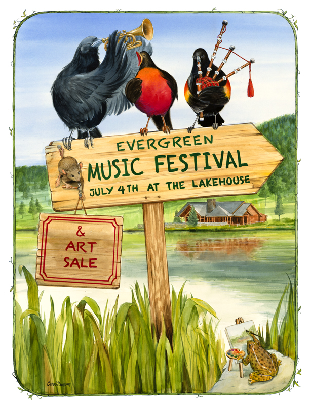 Another local Music Festival Poster. The Evergreen Lake is in the background, with the Lakehouse in Evergreen. Colorado.
