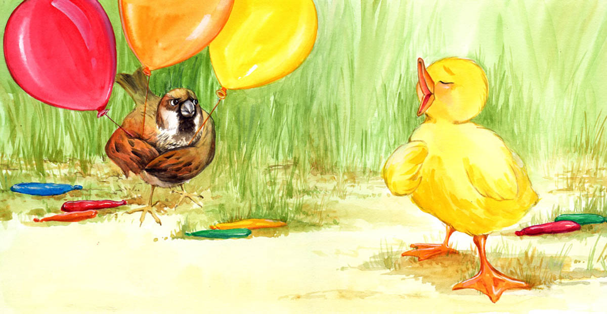This duckling is singing for his friend.