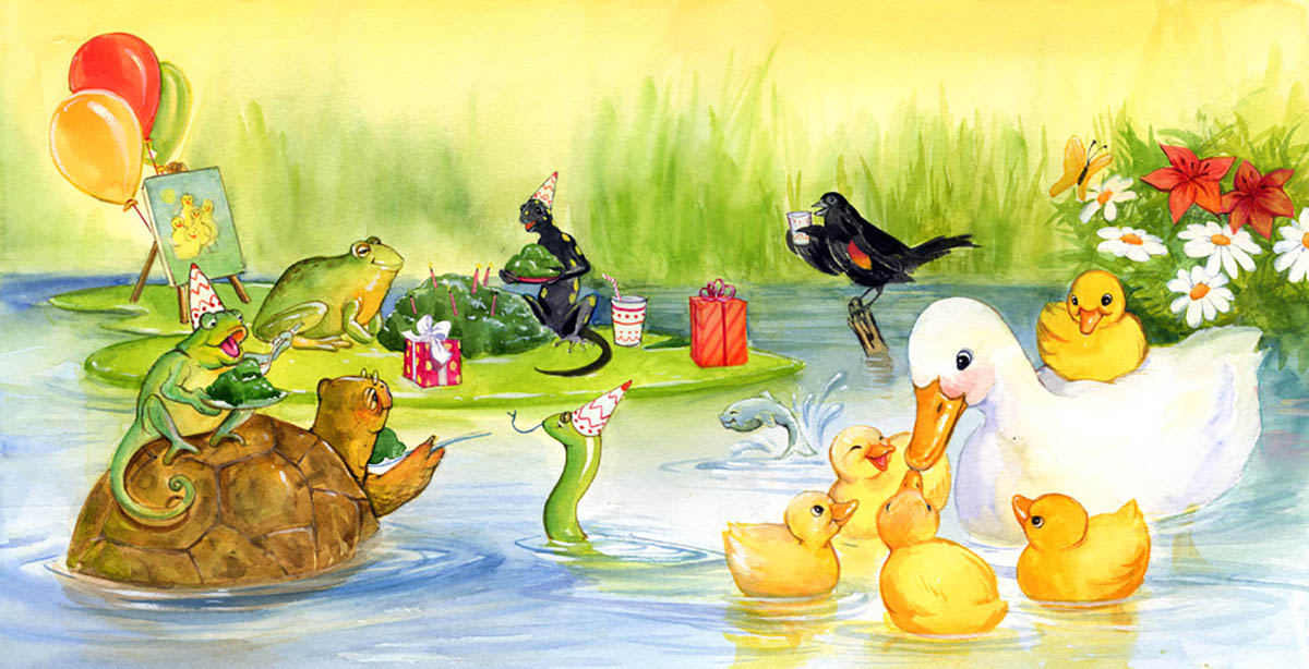 In this book the ducklings give their mom duck a birthday party!