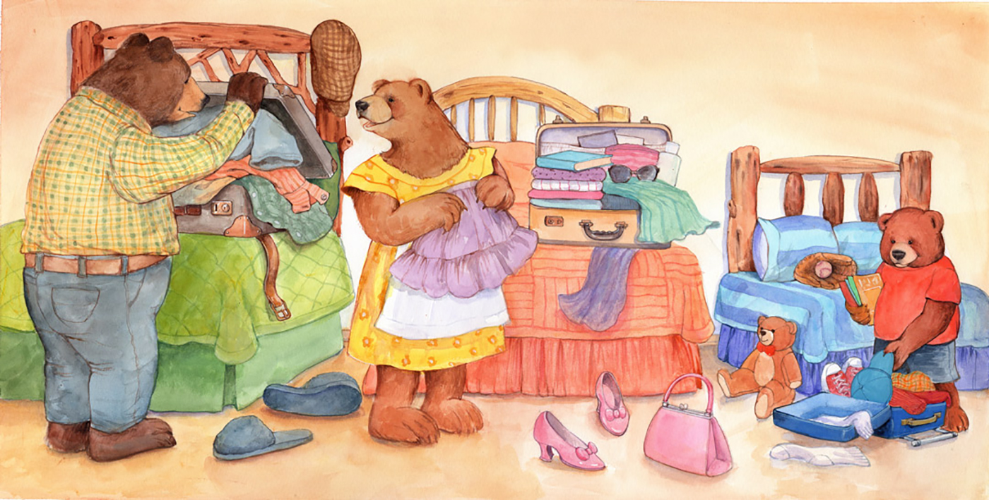 The three bears are packing for a vacation!