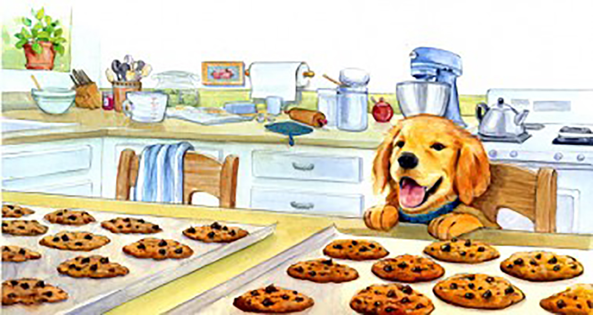 Always fun to paint food and puppies! This is a double page spread in a children's book.