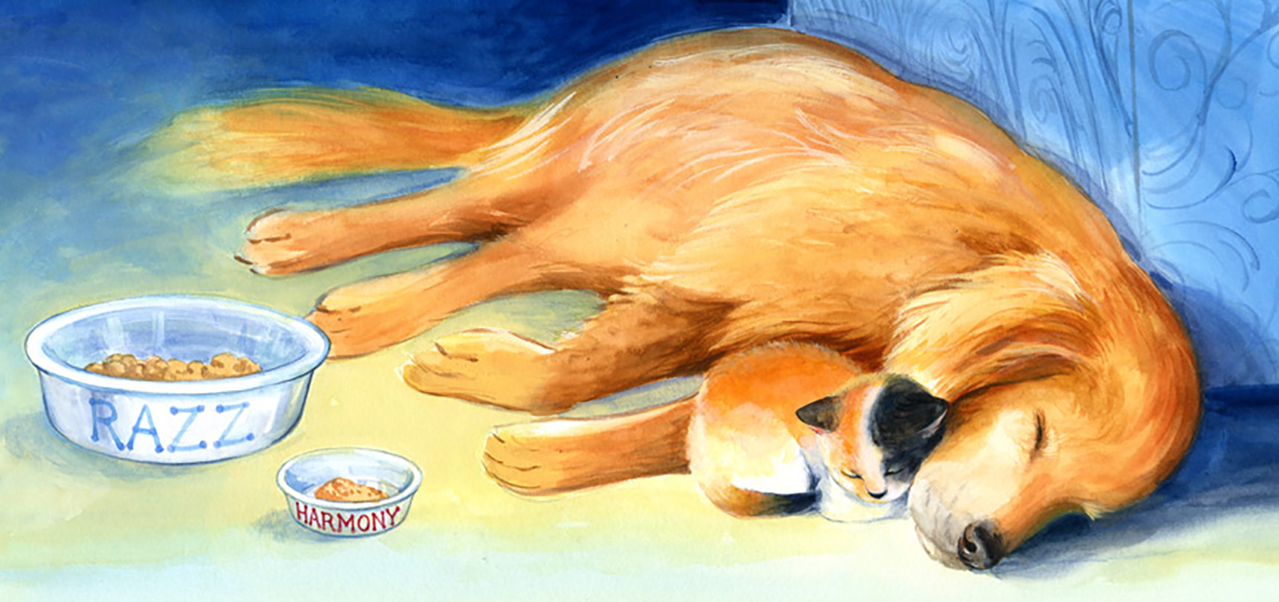 It's always fun to paint dogs and cats! This book was all about a golden retriever who had a pet cat.
