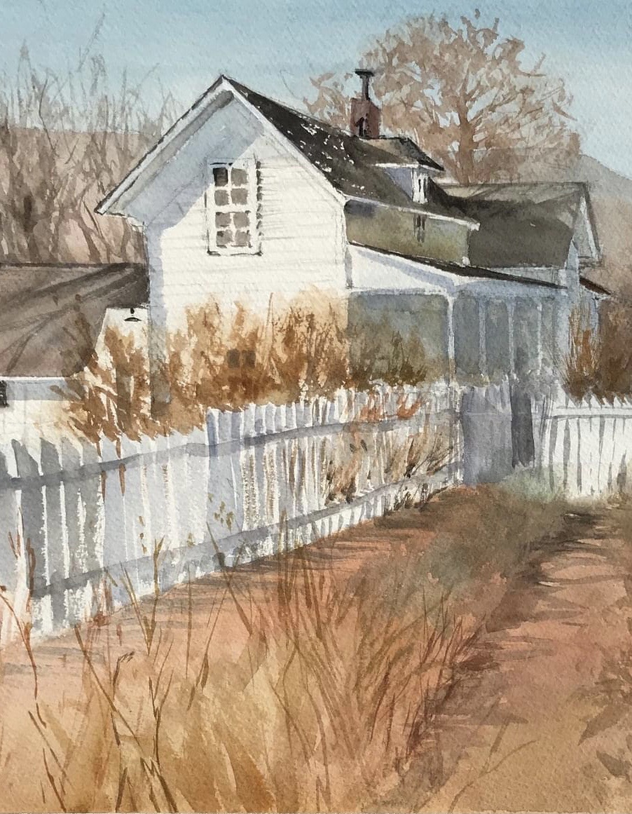 This old farm house was painted late in the fall on location at Chatfield Botanical Gardens. Watercolor 12 x 15