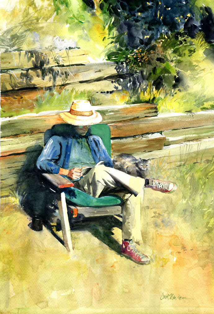 My son, Philip, reads in the sun with his cat. Watercolor 11 x 14