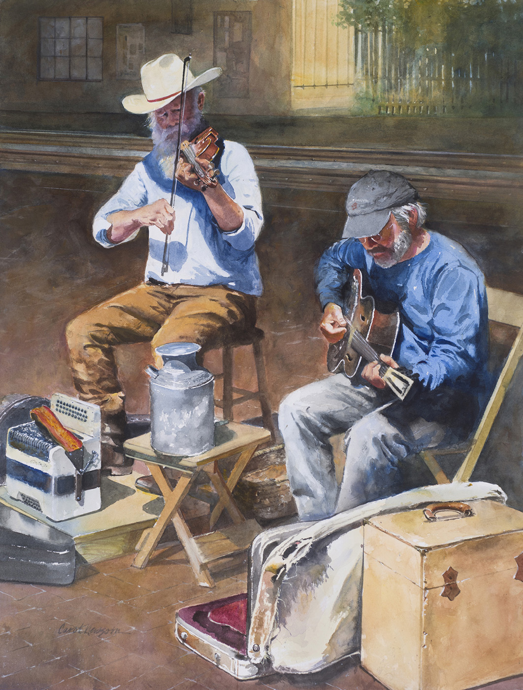 I found these guys playing music on the streets of Santa Fe. What a treat! Watercolor 19 x 27