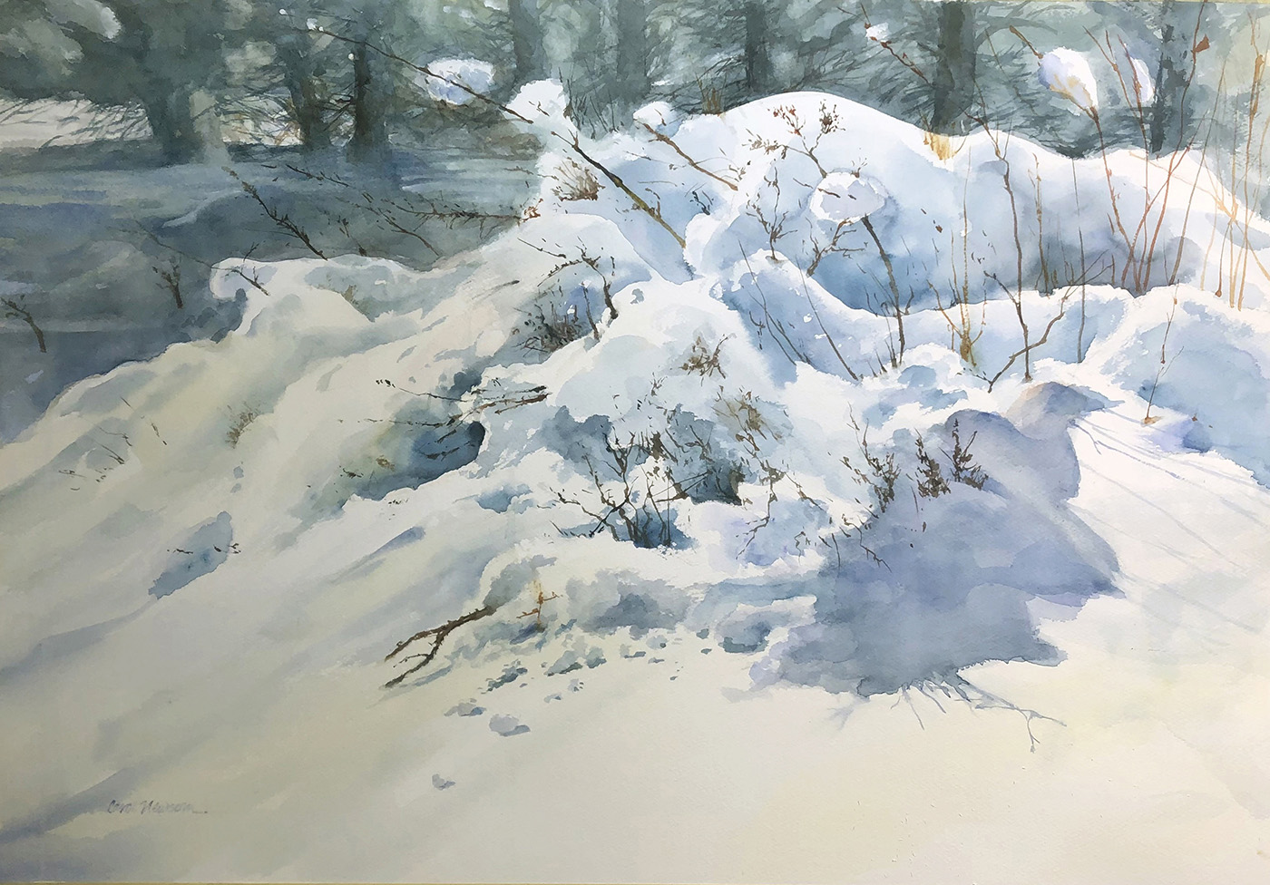 A quiet spot on the trail up to Evergreen Mountain. WINNER OF THE GOLDEN ARTIST AWARD AT THE CWS STATE SHOW. Watercolor 19 x...