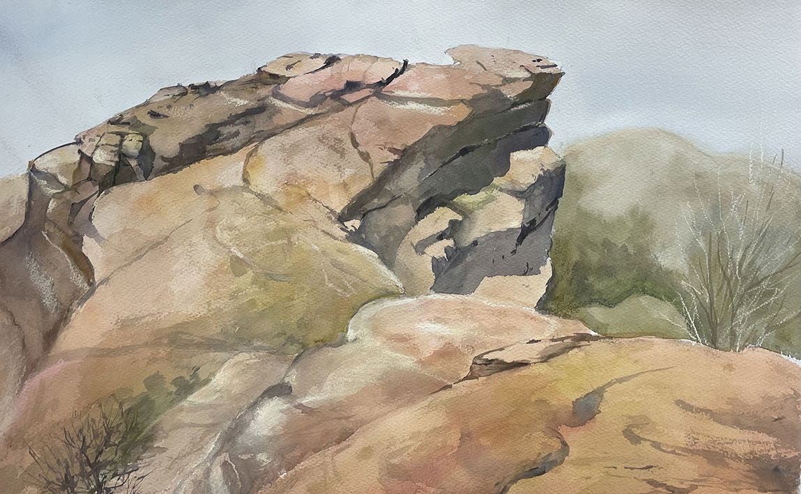 This rock formation was painting on location near the Trading Post in Red Rocks Park.  Watercolor, 12 x 18