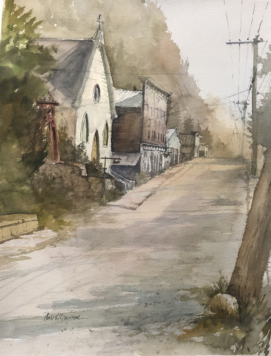 I painted this plein air at Silverplume on a day the forest fires filled the mountain air with smoke.  Watercolor, 12 x 17