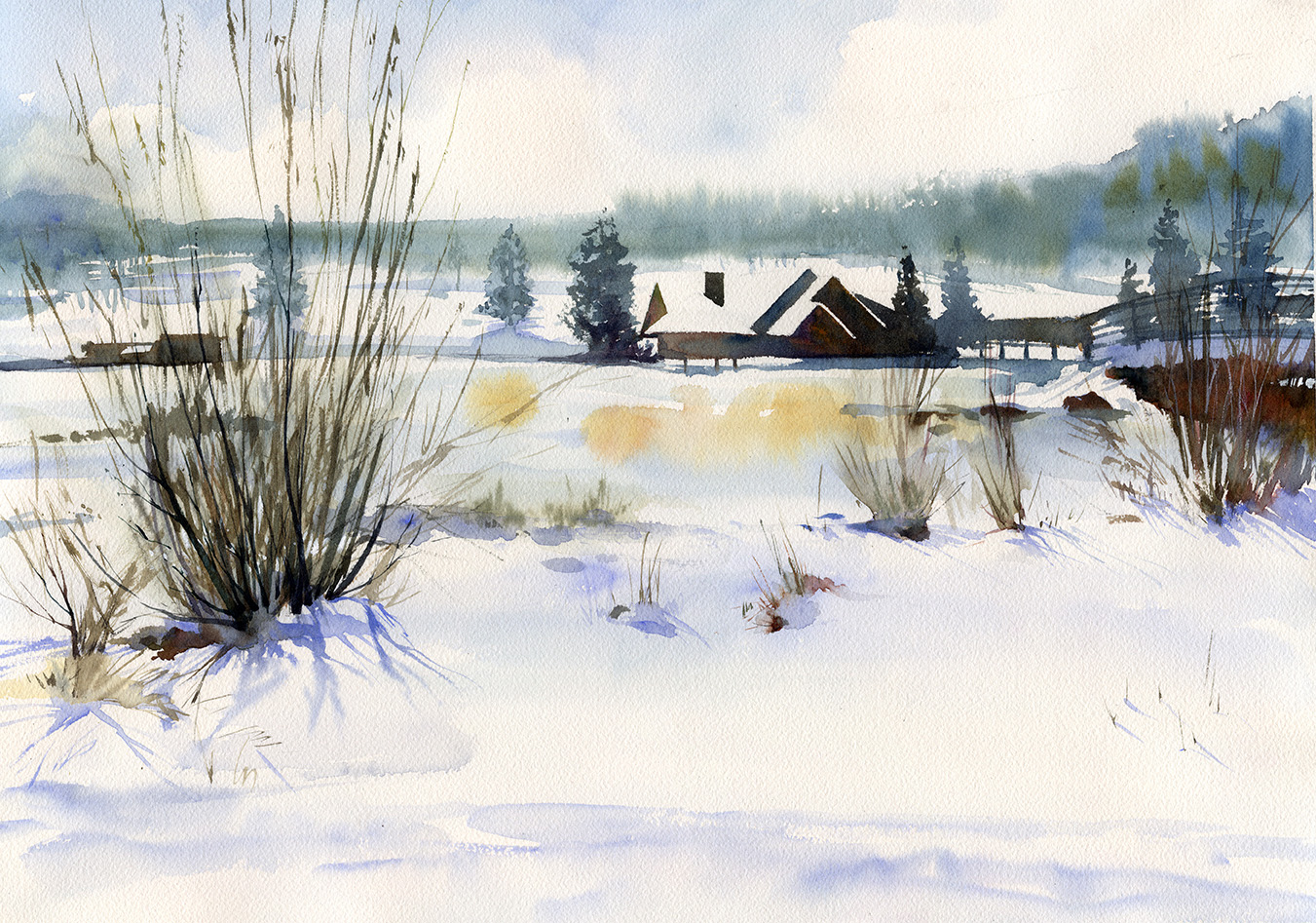 I never get tired of painting Evergreen Lake in Summer, Spring and Fall. SOLD